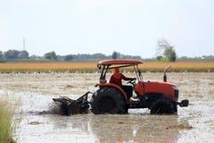L'agricoltore guida un trattore Fotografie Stock