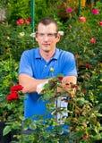 L'agricoltore nei sorrisi di vetro, in una serra del fiore Immagine Stock Libera da Diritti