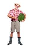 L'agricoltore offre il grande paprik verde Immagini Stock Libere da Diritti
