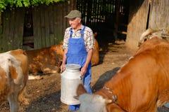 L'agricoltore sta lavorando all'azienda agricola organica Fotografia Stock