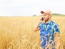 L'agricoltore in una camicia di plaid ha controllato il suo campo Parlando sul pho Immagine Stock