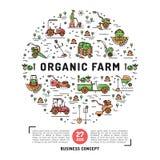 L'agricoltura e la progettazione fresca dell'azienda agricola organica cardano il modello Fotografia Stock