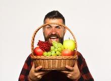L'agriculteur avec le visage gai présente des pommes, des raisins et des canneberges image stock