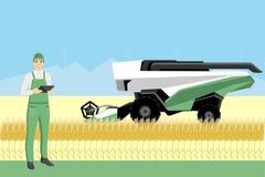 L'agriculteur commande une moissonneuse autonome illustration de vecteur