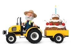l'agriculteur de l'illustration 3d sur le tracteur transporte le gâteau illustration de vecteur