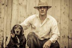 L'agriculteur et son meilleur ami Image stock