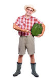 L'agriculteur offre le grand paprik vert Images libres de droits