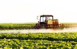 L'agriculteur sur un tracteur avec un pulvérisateur fait l'engrais pour le jeune légume images libres de droits