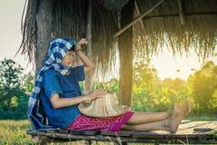 L'agricultrice moissonne le riz en Thaïlande Photos libres de droits