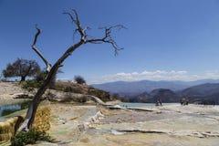 L'Agua d'EL de Hierve signifie l'eau bouillante C'est un massif géologique à Oaxaca, Mexique images stock