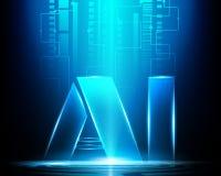 L'AI marquent avec des lettres l'intelligence artificielle de Digital avec la technologie sûre illustration libre de droits