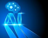 L'AI marquent avec des lettres l'intelligence artificielle et le cerveau g de génération de Digital illustration de vecteur