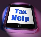 L'aide d'impôts au téléphone montre le conseil d'imposition en ligne Photo stock