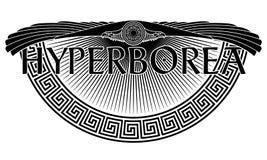 L'aigle à ailes, le symbole solaire, l'ornement européen antique et l'inscription hyperboréens - le légendaire illustration libre de droits