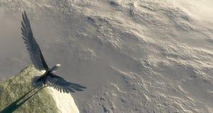 l'aigle avec des ailes a écarté un point pour commencer à voler illustration de vecteur