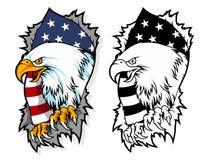 L'aigle chauve a sorti du papier déchiré avec la mascotte de bande dessinée de fond de drapeau de l'Amérique peut employer pour l illustration libre de droits