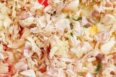 L'ail a martelé le fond de légumes de texture image stock