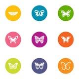 L'aileron des icônes de papillon a placé, style plat illustration de vecteur