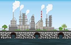 L'air et l'eau de rebut sales de tuyau d'usine de pollution de nature ont pollué e Illustration Libre de Droits