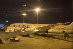 L'Airbus A350 a débarqué dans Doha, Qatar Image libre de droits