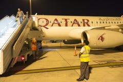 L'Airbus A350 ha atterrato in Doha, Qatar Fotografia Stock