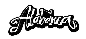 l'alabama autoadesivo Iscrizione moderna della mano di calligrafia per la stampa di serigrafia Fotografie Stock