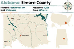 L'Alabama : Carte du comté d'Elmore Photographie stock libre de droits