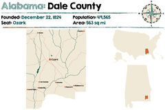 L'Alabama : Carte du comté de Dale Images stock
