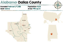 L'Alabama : Carte du comté de Dallas Image libre de droits