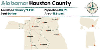 L'Alabama : Carte du comté de Houston Images libres de droits