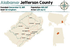 L'Alabama : Carte du comté de Jefferson Photo stock