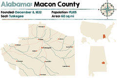 L'Alabama : Carte du comté de Macon Photo stock