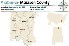 L'Alabama : Carte du comté de Madison Photo stock