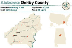 L'Alabama : Carte du comté de Shelby Photo libre de droits