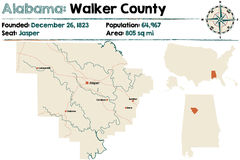 L'Alabama : Carte du comté de Walker Photo libre de droits