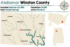 L'Alabama : Carte du comté de Winston Photo libre de droits