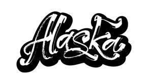 l'alaska autoadesivo Iscrizione moderna della mano di calligrafia per la stampa di serigrafia Fotografia Stock