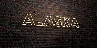 L'ALASKA - enseigne au néon réaliste sur le fond de mur de briques - image courante gratuite de redevance rendue par 3D Image libre de droits