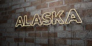 L'ALASKA - Enseigne au néon rougeoyant sur le mur de maçonnerie - 3D a rendu l'illustration courante gratuite de redevance Photos stock