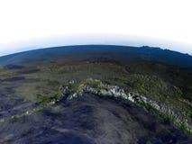 L'Alaska la nuit sur le modèle réaliste de la terre Photos stock