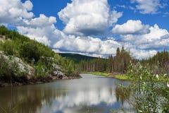 L'Alaska, paysage d'été avec le ciel bleu et les nuages Images libres de droits