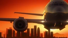 L'alba dell'orizzonte di Los Angeles la California U.S.A. America decolla Fotografia Stock