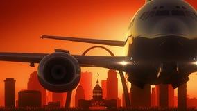 L'alba dell'orizzonte di Louis Missouri U.S.A. America del san decolla Fotografie Stock Libere da Diritti
