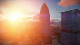 L'alba di lasso di tempo di Londra, riassicurazione svizzera acquartiera, il cetriolino archivi video