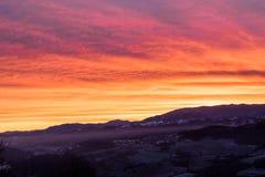 L'alba di oltrepo Pavese Immagini Stock