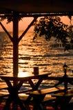 L'alba sopra il Mar Nero illumina il terrazzo dell'istituzione Fotografia Stock