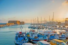 L'alba sopra il porto del ` s di Candia Fotografie Stock Libere da Diritti