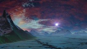 L'alba stars (UFO) sopra il deserto del ghiaccio illustrazione di stock
