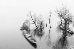 L'alba sul lago Erhai Fotografia Stock
