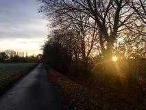 l'alba in una vista di autunno del villaggio tedesco in sole rays vicino alle alpi Immagini Stock Libere da Diritti
